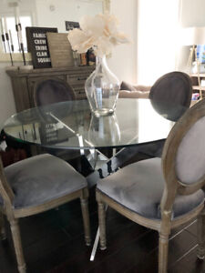 """47"""" round glass table with silver legs"""