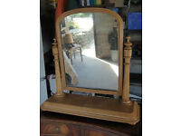 Dressing table, large antique pine mirror