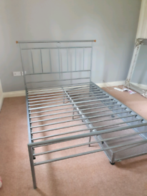 Double Silver Metal Bed Frame with large storage drawer