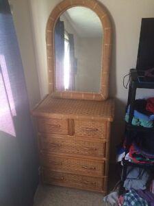 Wicker Bed, Dresser, Mirror, Night Stand set!!