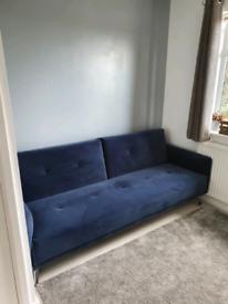 Blue velvet sofa bed for sale