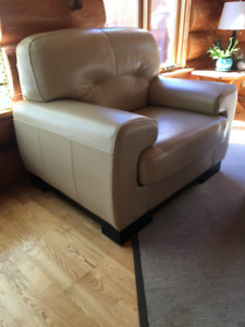 Leather couch and chair-cream colour