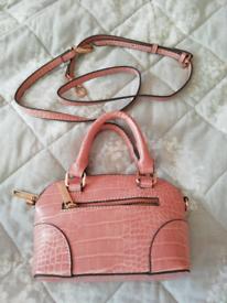 New accessorize mini handbag pink croc effect
