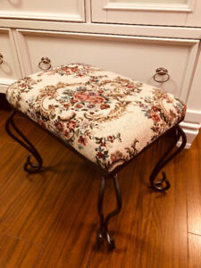 Vintage French Country Tapestry Footstool
