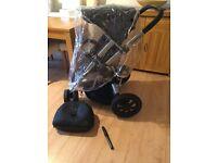 Quinny Buzz Rocking black buggy/ pram/ pushchair with original futmuff, bag ,tyre pump and raincover