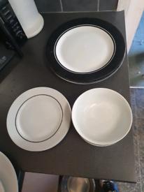 Black & White Monochrome Dinner Set Plates Bowls