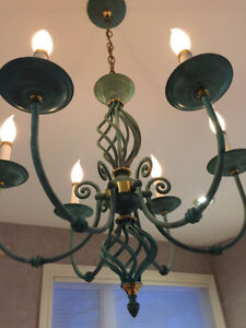 Chandelier Rusted Copper/Brass finish (5 small socket bulbs)Vin