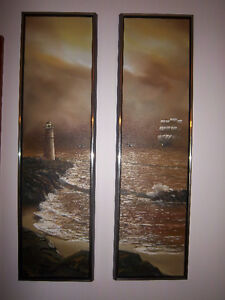 """Matching Pair of Oil Paintings 12"""" x 43"""" by G.S. Hill"""