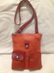 Funky Red Leather Cross Body Bag Made in Italy by 'The Trend'