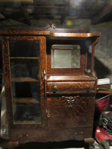 "ANTIQUE CHINA CABINET -  60 1/2"" high X 44"" wide X 17 1/2"" deep"