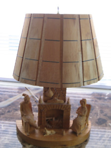 Wood Fireplace lamp by Girard Fortins
