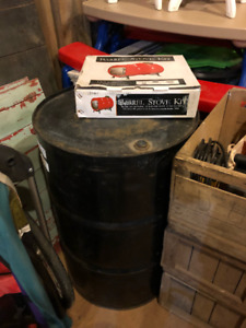 Barrel Stove Kit (Cast Iron) with 55 gallon Steel Drum