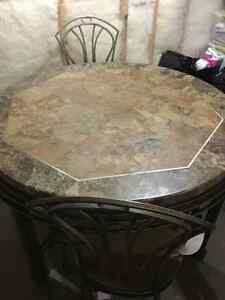 Solid marble kitchen table with chairs