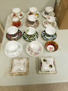 China tea cups and butter dishes