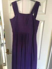 Cadbury purple full length bridesmaid dress with corset laced back size 16