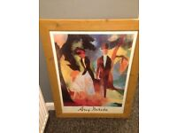 Two large wooden framed glass. Pictures