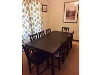 IKEA dining table and 8 chairs - black/brown
