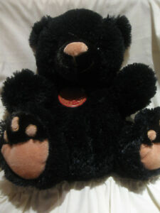 VINTAGE JET-BLACK 13in. PLUSH STUFFED CUDDLY  BEAR