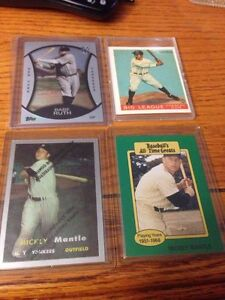 New York Yankees lot of 4 cards Babe Ruth, Mantle, Gehrig