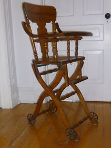 Antique collapsible high/low chair