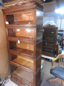 """antique barrister bookcase,  5 levels, 78"""" high, two drawers"""