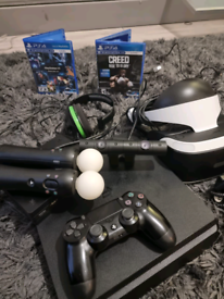 PS4 and controller, VR Headset, 2 Joy Cons And Creed Game VR camera +
