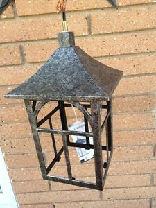 Antique Silver Outdoor Hanging Lights x2
