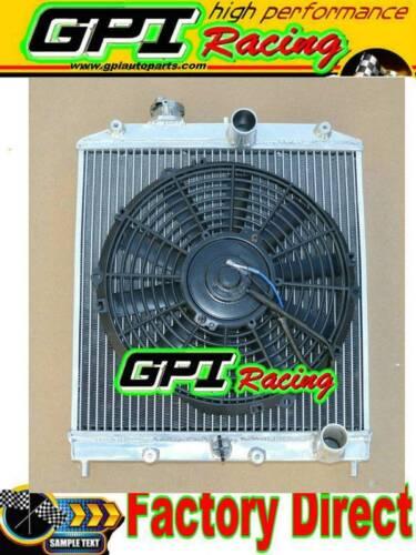 """ALUMINUM RADIATOR FOR 92-00 HONDA CIVIC DEL SOL EG EK ROW 42MM D16+12/"""" BLACK FAN"""
