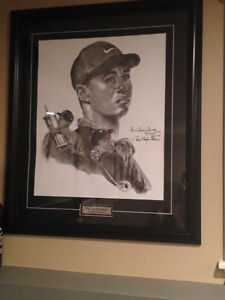 Framed Tiger Woods Painting