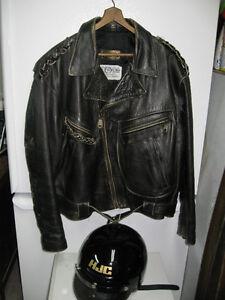 Large leather jacket & helmet