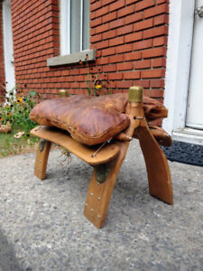 Moroccan Vintage Camel Saddle Stool Leather Repose Pieds