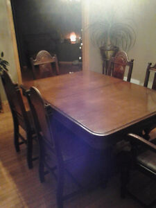 Antique walnut Chesley dining table and chairs