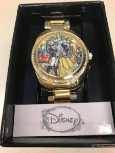 Gold Tone Metal Band Beauty and the Beast Watch Disney Stained