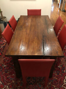 6 Red Leather Dining Room Chairs