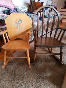 Child's wooden rocking chairs