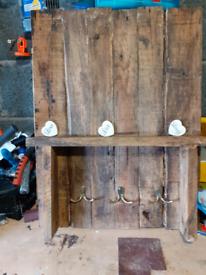 Reclaimed pallet wood shelf with coat/key hooks
