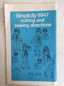 Simplicity Pattern 9947 Girls & Boys Sailor Suit Dress Pants Shorts sz 4 UNCUT