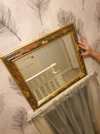 Gold evergreen framed mirror