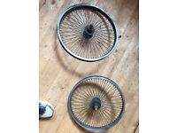 "Front and rear multi spoke 20"" bmx wheels"