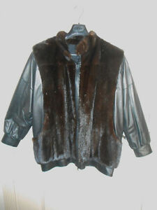 Black Mink & Leather Bomber Jacket