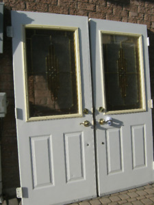 steel double front doors