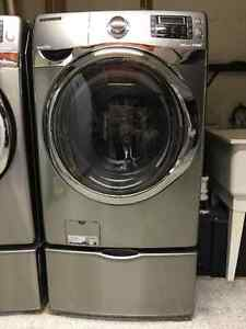 Samsung Front Load Steam Washer with Pedestal (Grey)