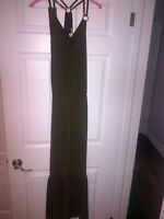 BEAUTIFUL STUNNING MICHAEL KORS BROWN LONG STRAPPY DRESS