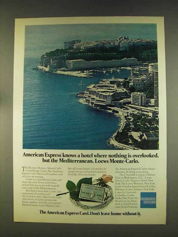 1976 American Express Ad - Lowes Monte-Carlo