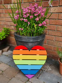 Handmade wooden rainbow hearts
