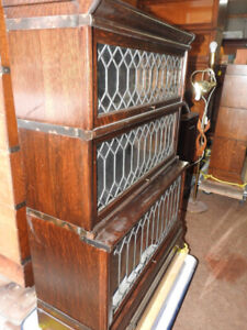antique barrister bookcase oversized, step back, all lead