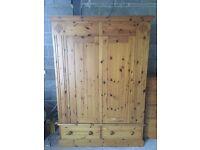 Double Door Pine Wardrobe 2 Door 2 Drawer Solid Pine