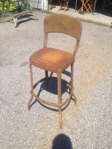 Antique Industrial 1940's metal Factory chair/stool.
