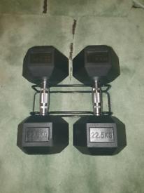 2 x 22.5kg brand new hex dumbells, hand weights