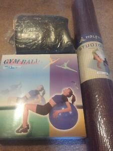2 Gym balls and yoga mat.